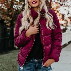 Jackets & Blazers - Burgundy Quilted Puffer Puffy Jacket